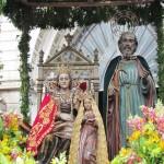 Señora Santa Ana, La Virgen María y San Joaquín previo a iniciar la procesión por las calles de la ciudad morena