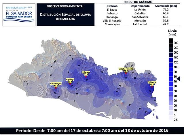 MARN:  Mapa de distribución de la lluvia registrada