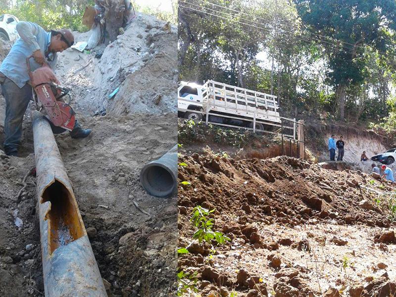 Reparan tubería que abastece al municipio de Coatepeque