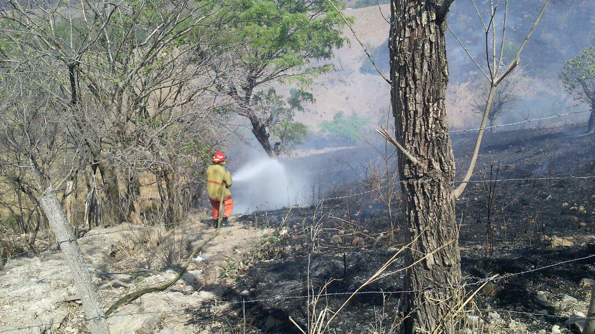 Bomberos atiende incendio en caserío Casa de Tejas en Metapán