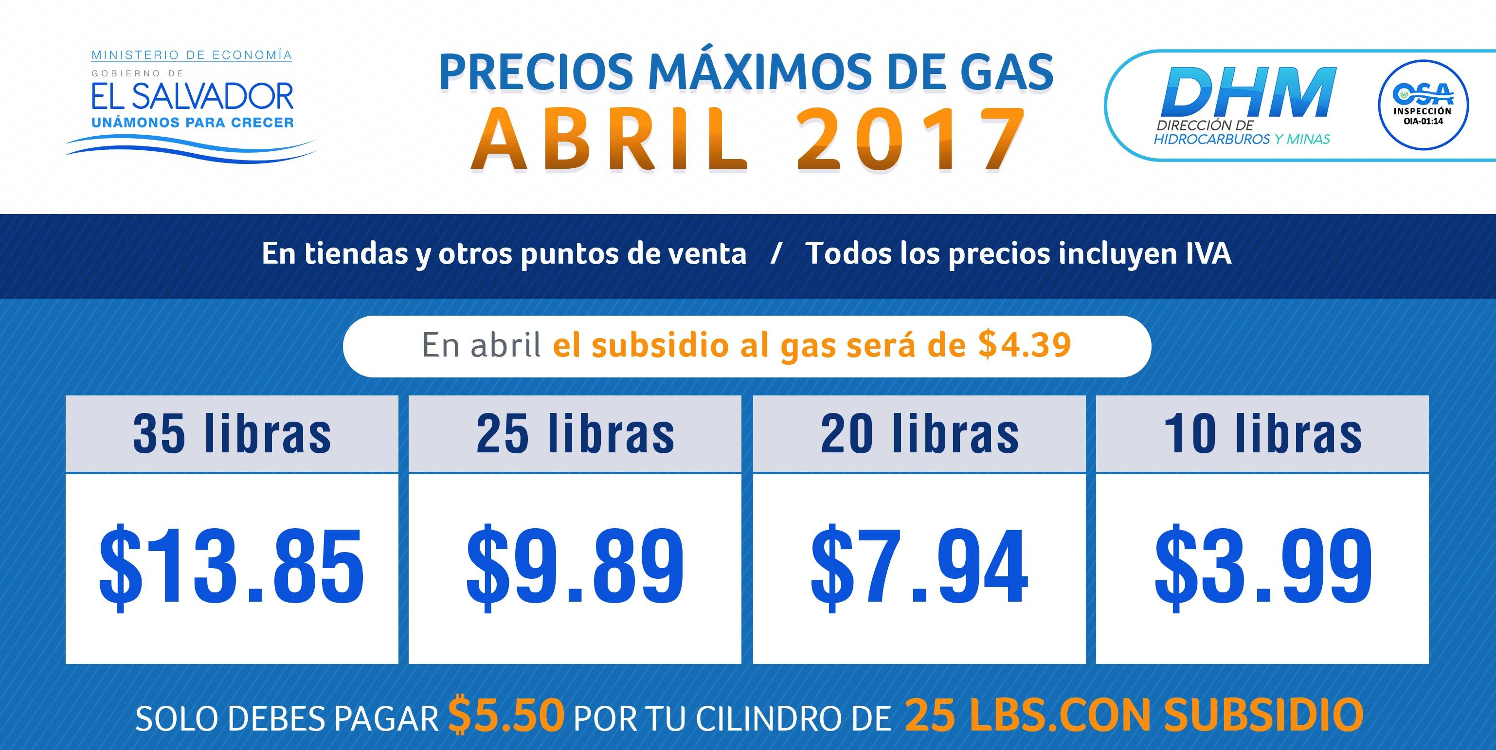 Informan bajas en los precios de cilindros de Gas Licuado de Petróleo para abril 2017