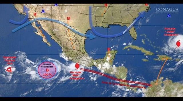 Un huracán y dos tormentas amenazan al Pacífico mexicano