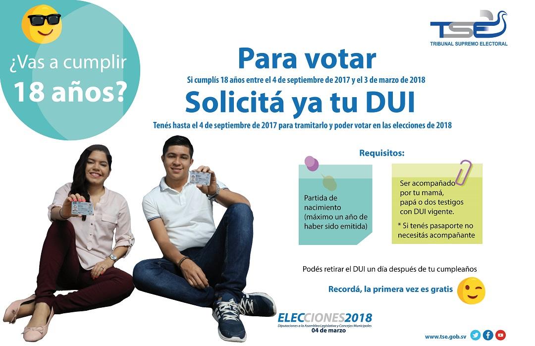 4 de septiembre ultimo día para solicitar el DUI y poder votar en la elecciones del 2018