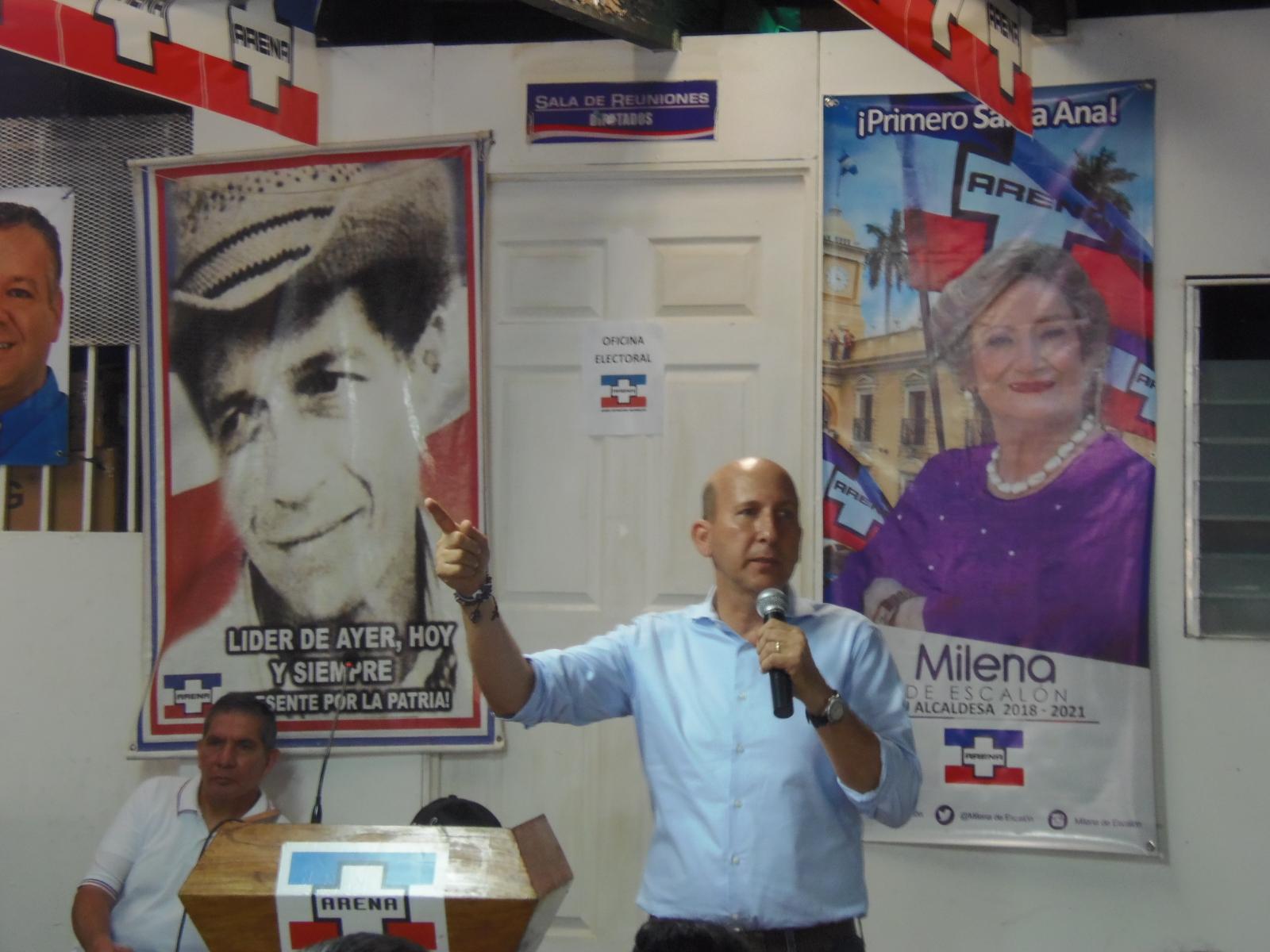 Javier Siman, ofrece su apoyo a los candidatos a diputados y alcaldes por el partido ARENA