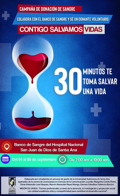 """Apoya la campaña """"Contigo Salvamos Vidas"""" del banco de sangre del hospital San Juan de Dios de Santa Ana"""