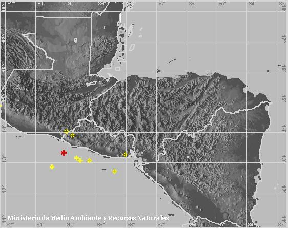 Sismo Sentido de Magnitud 3.7, Frente a la costa de Sonsonate. A 37 km al suroeste de Playa Los Cóbanos