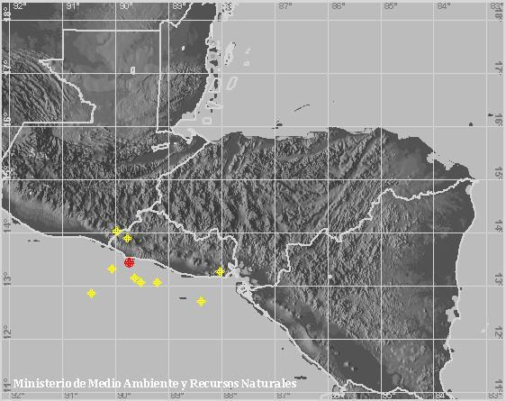 Sismo Sentido de Magnitud 4.5, Frente a la costa de Sonsonate. A 12 km al sureste de Playa Los Cóbanos