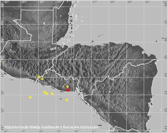 Sismo Sentido de Magnitud 3.2, En munic. de Intipucá. A 21 km al suroeste de La Unión,