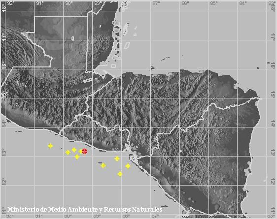 Sismo Sentido de Magnitud 3.7, Frente a la costa de La Libertad. A 30 km al suroeste de Playa La Zunganera