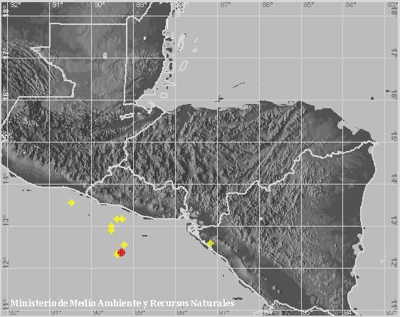 Sismo Sentido de Magnitud 4.3, Frente a la costa de La Paz. A 110 km al suroeste de Desembocadura del Río Lempa