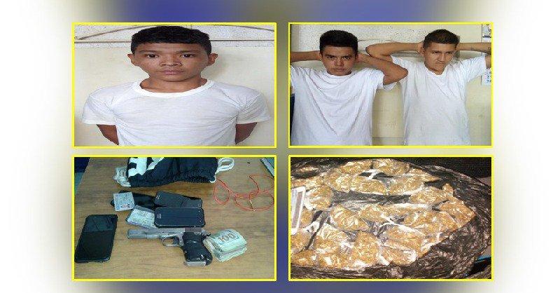Tres capturados con droga, armas y dinero en efectivo producto de ilícitos