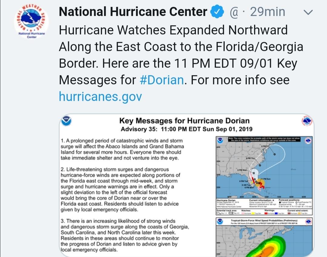 Dorian en Bahamas el más potente hasta ahora