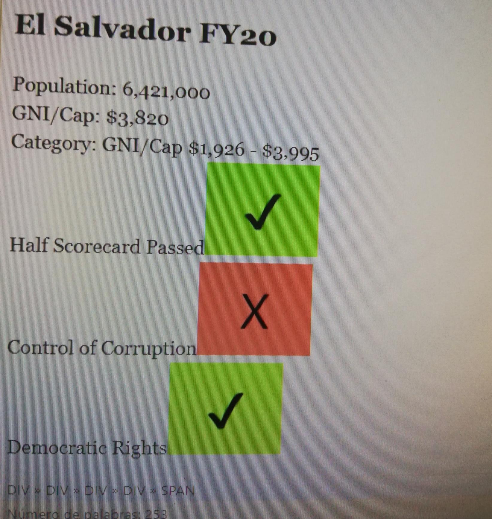 Corporación del Reto del Milenio da a conocer evaluación de indicadores para El Salvador para 2020