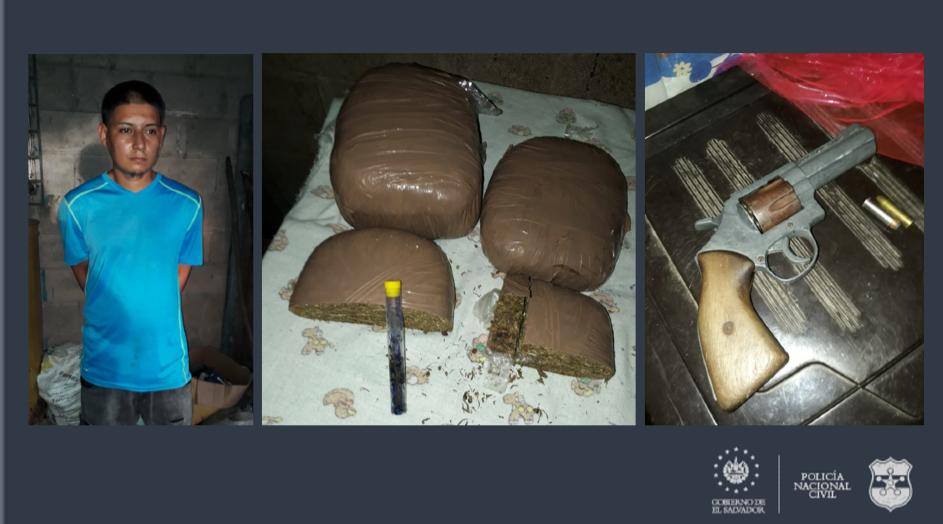 Capturan en Chalatenango a sujeto con droga y arma en su poder