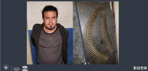 Policía sorprende en la capital a sujeto con una canana de munición de grueso calibre
