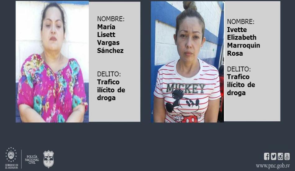 Policía captura a mujeres vinculadas al tráfico de metanfetaminas, en Sonsonate
