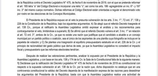 Sala de lo Constitucional resuelve votaciones por Concejos Municipales seran por rostro