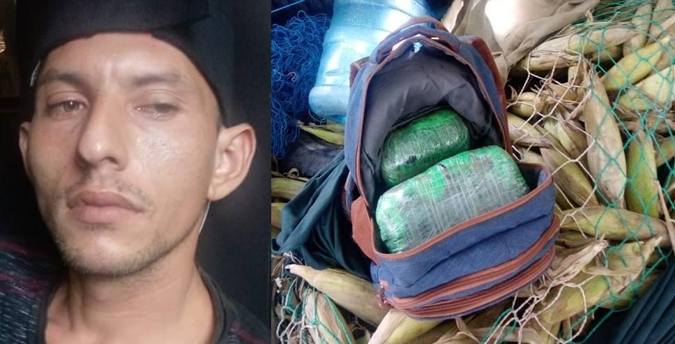 Ocultaba la droga en una red con elotes, pero fue atrapado por agentes del Centro Antipandillas Transnacional