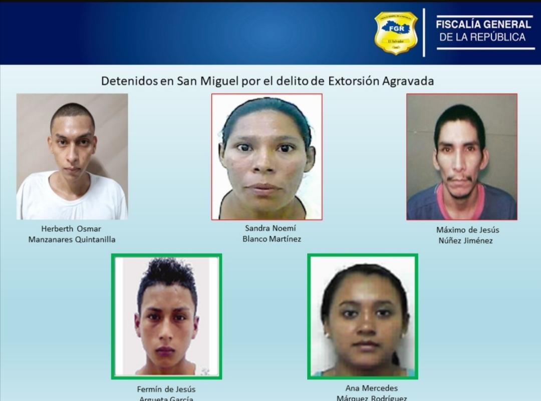 Extorcionistas son capturados en San Miguel