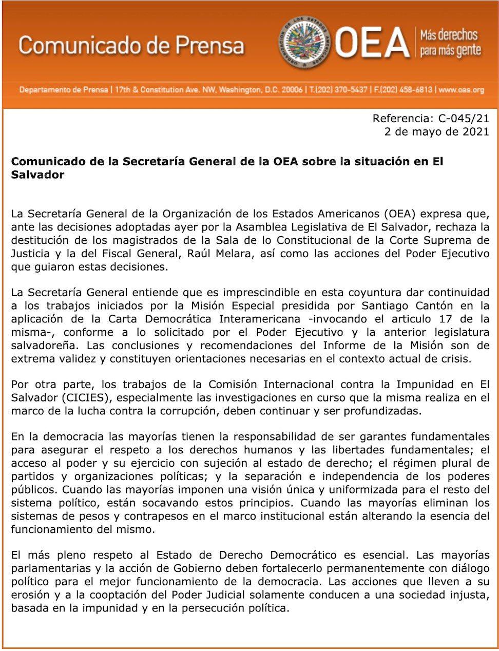 Pronunciamiento OEA ante destitucion dw Magistrados de la Corte Suprema de Justicia